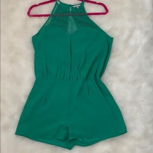 Green mesh romper with key hole back